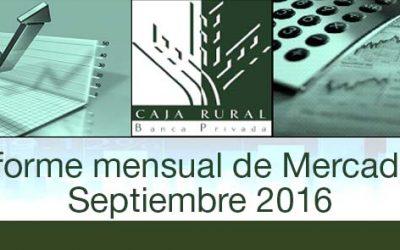 INFORME MENSUAL DE MERCADOS SEPTIEMBRE 2016