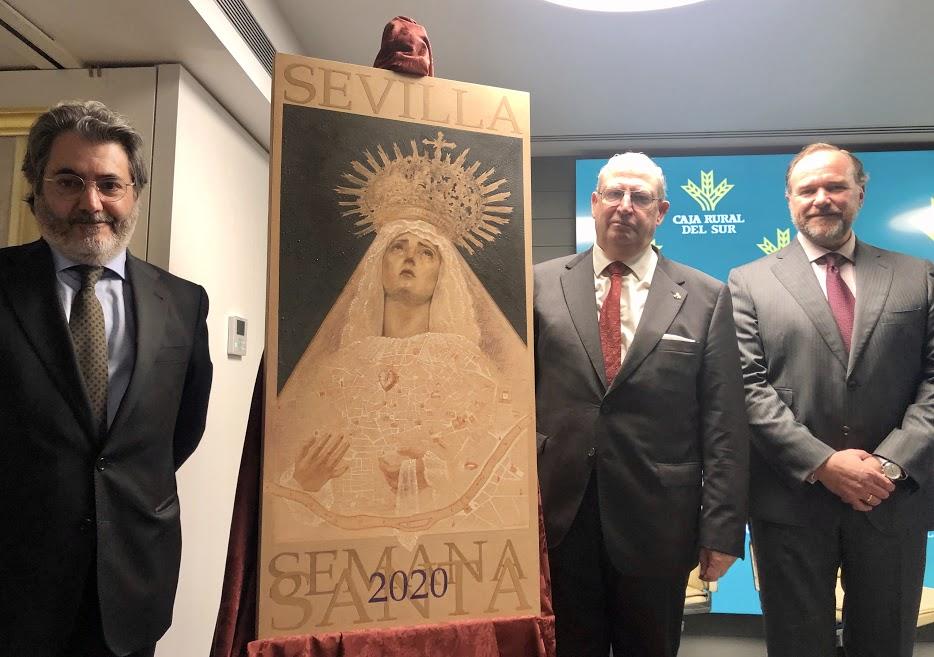 Presentación en Caja Rural del Sur del cartel de la Semana Santa de Sevilla 2020, obra de Daniel Bilbao