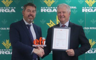 """Seguros RGA, la compañía de Seguros de Caja Rural del Sur, obtiene la recertificación """"efr"""""""
