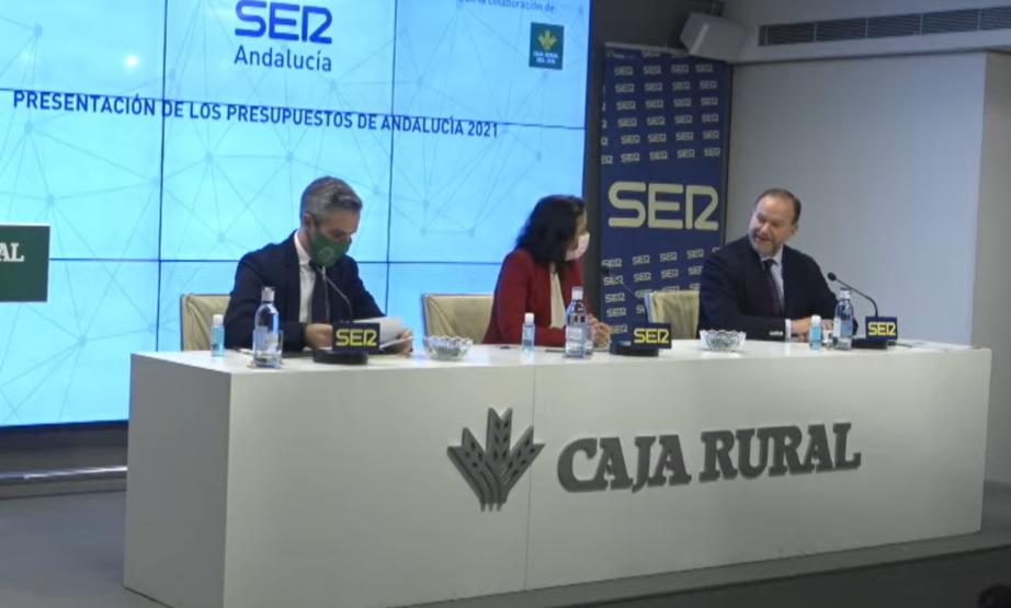 Presentación de los presupuestos de la Junta de Andalucía para 2021 en Caja Rural del Sur